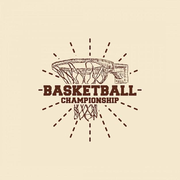 バスケットボールの手描きのロゴ Premiumベクター