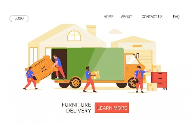 Мебель транспорт векторные иллюстрации для веб-страницы. Premium векторы