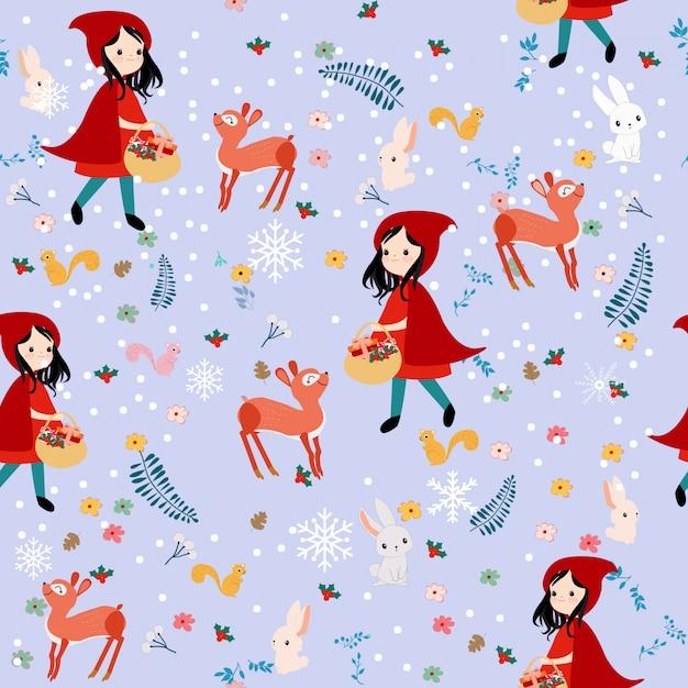 Симпатичные бесшовные модели красная капот девушка и диких животных Premium векторы