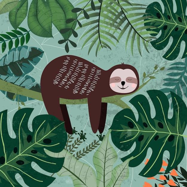 Ленивец спит в тропических джунглях Premium векторы