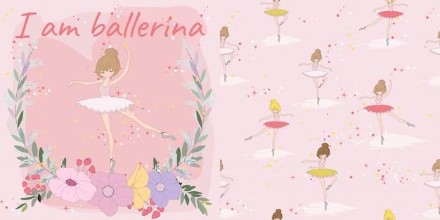 花フレームのシームレスなパターンでかわいい赤ちゃんバレリーナガール Premiumベクター
