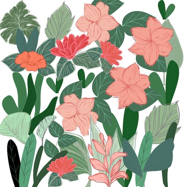 Тропический ботанический цветок и рисунок Premium векторы