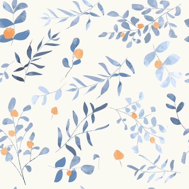 青い花のシームレスパターン Premiumベクター