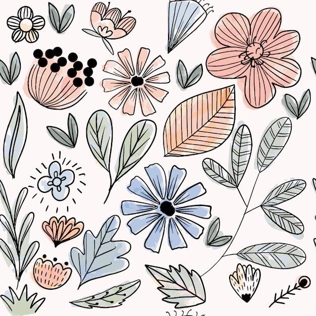 Пастельные цветы и листья бесшовные модели Premium векторы