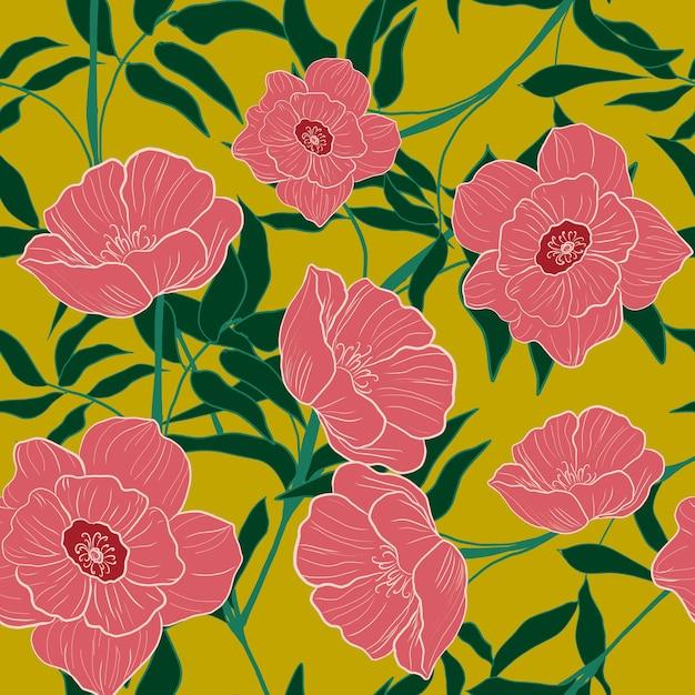 ピンクの花のシームレスパターン Premiumベクター
