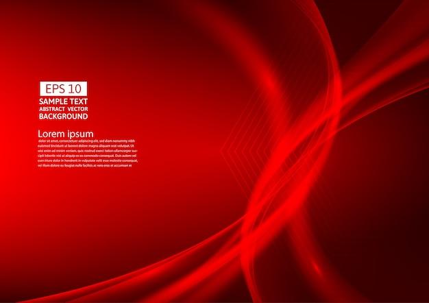 赤の色の波抽象的な背景のデザイン Premiumベクター