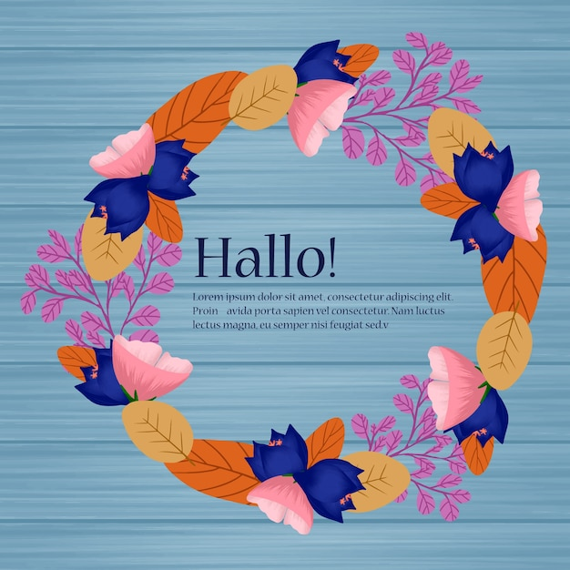 秋の花と葉の花の結婚式のフレーム Premiumベクター