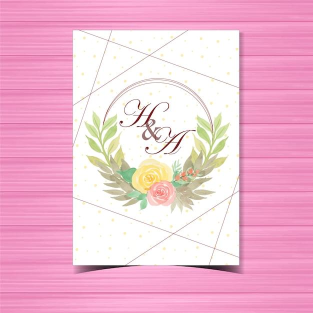 美しい花のウェディングバッジ Premiumベクター