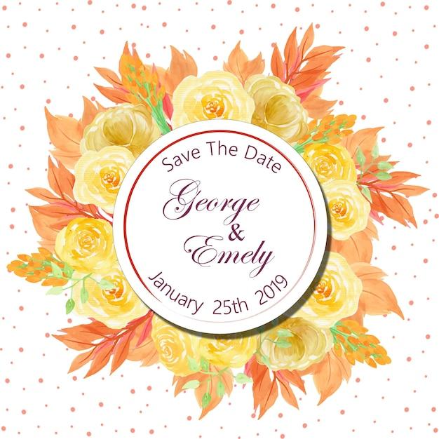 美しい黄色のバラと花の結婚式の招待バッジ Premiumベクター