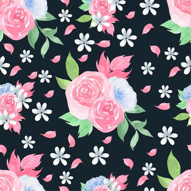 美しいバラの水彩画のシームレスパターン Premiumベクター