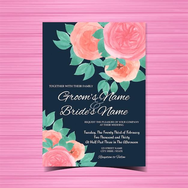Акварель свадебное приглашение с великолепными розовыми розами Premium векторы