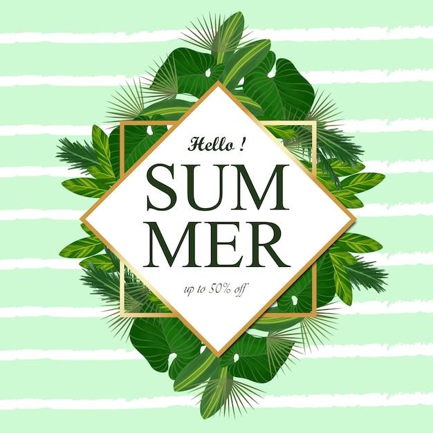 熱帯の葉と夏の花のフレーム Premiumベクター