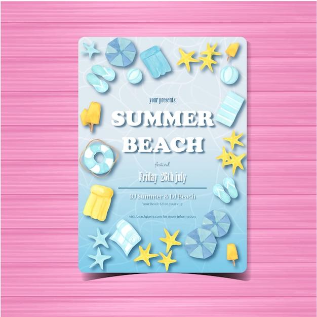 Летняя пляжная вечеринка флаер или плакат шаблон приглашения Premium векторы