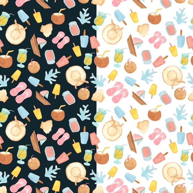 お菓子やビーチの要素とのシームレスなパターン Premiumベクター