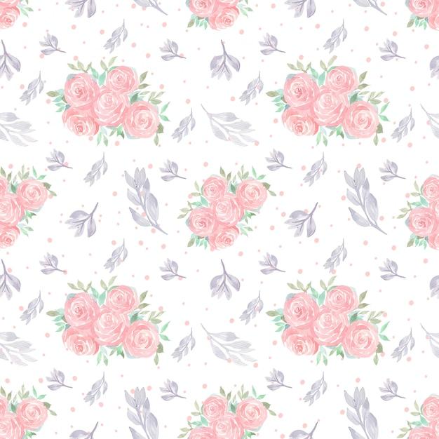 豪華な花とのシームレスな花柄 Premiumベクター