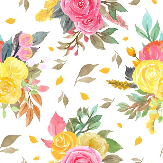 Бесшовный фон с красными и желтыми розами Premium векторы