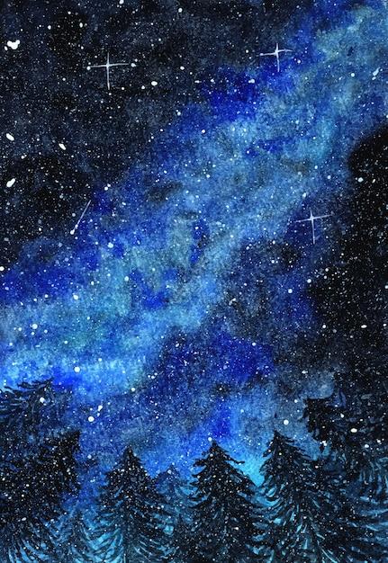 Абстрактное зимнее ночное небо с красивой голубой галактикой Premium векторы