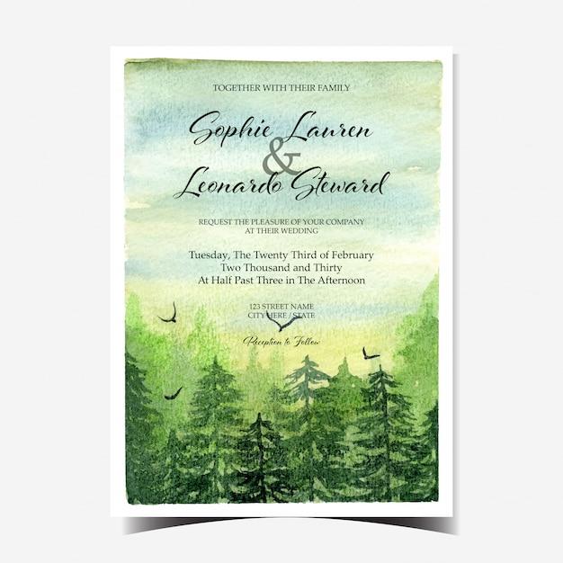 美しい風景と緑の森の結婚式の招待状 Premiumベクター