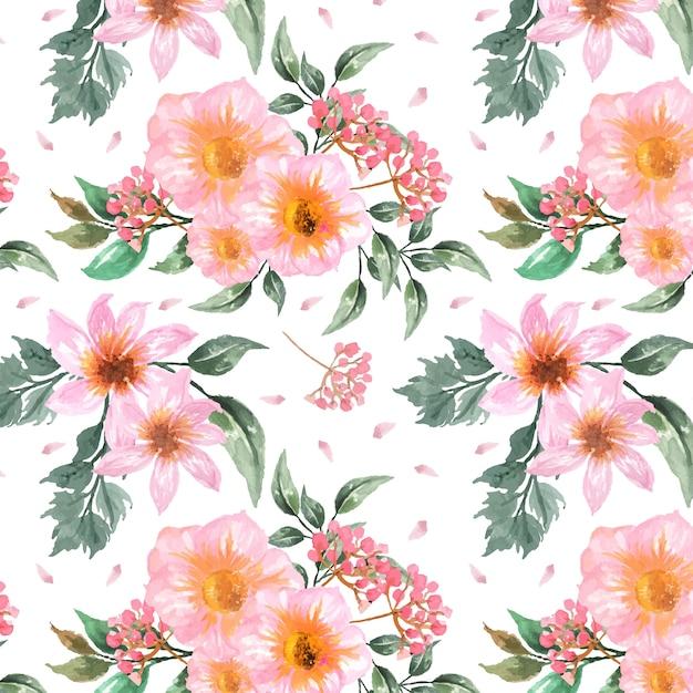 豪華なピンクの花とのシームレスな花柄 Premiumベクター