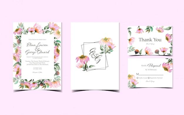 豪華なピンクのデイジーの花の結婚式の招待状コレクションのセット Premiumベクター