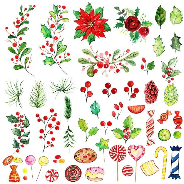 水彩メリークリスマスの要素コレクション Premiumベクター