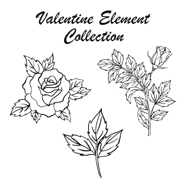 手描きのバレンタインの花のコレクション Premiumベクター