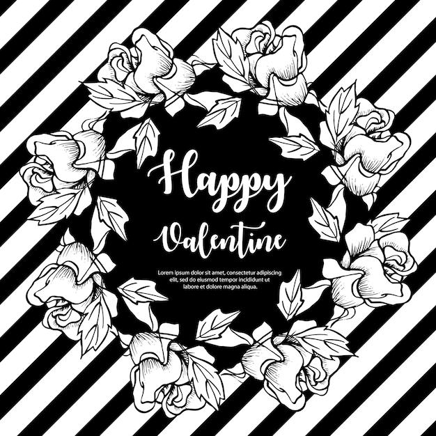 黒と白のバレンタインリース Premiumベクター