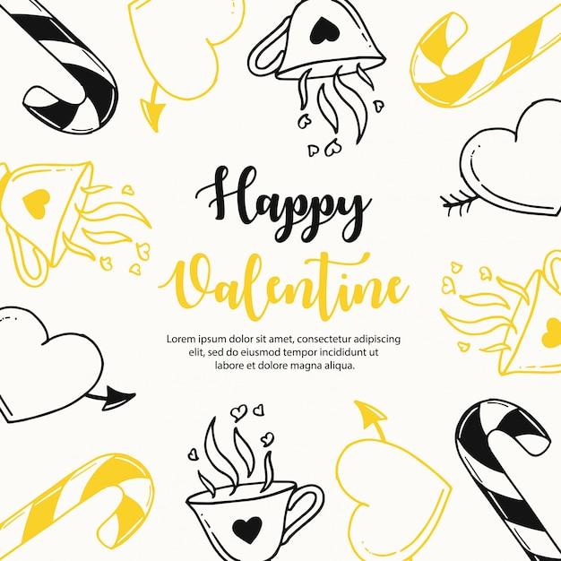 カラフルな手描きのバレンタインパターン Premiumベクター