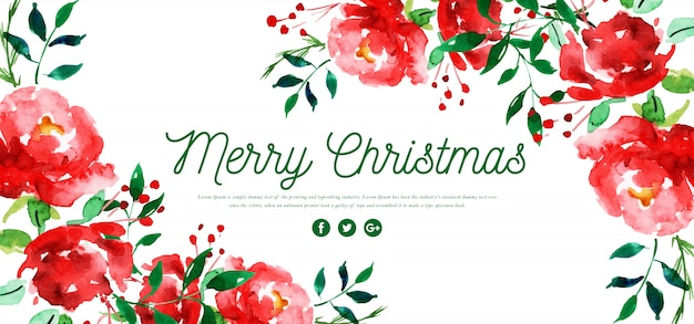 水彩花メリークリスマスバナー Premiumベクター