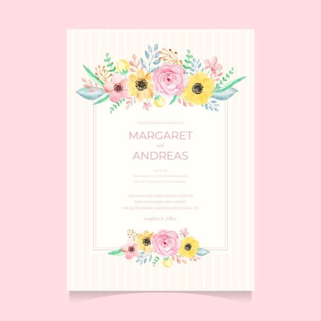 美しい水彩の花の結婚式の招待状のテンプレート Premiumベクター