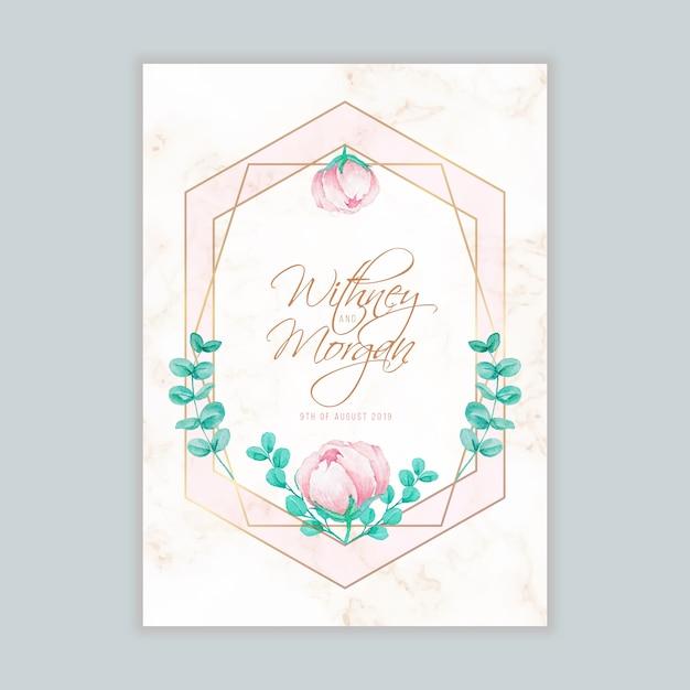 ウォーターカラーの花柄と幾何学模様の結婚式招待状 Premiumベクター
