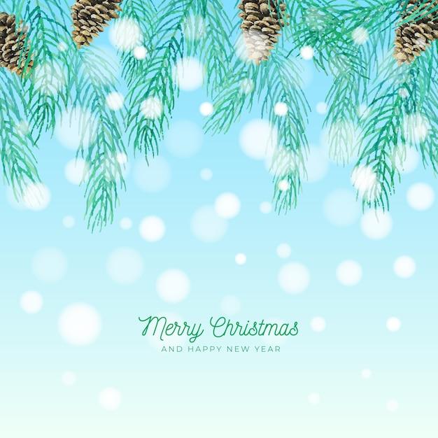 水彩クリスマスツリーブランチ Premiumベクター