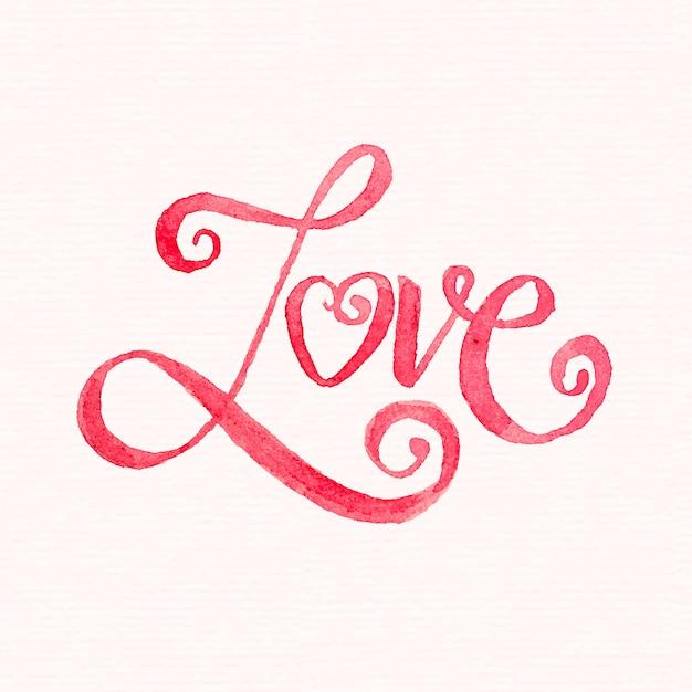 Акварель любовная надпись Premium векторы