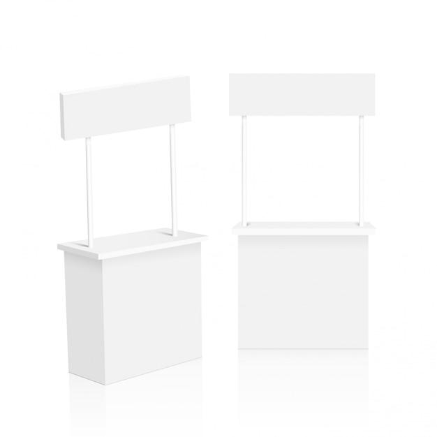 Промо счетчик торговли стенд на белом фоне. Premium векторы