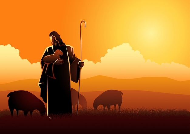 羊飼いとしてのイエス Premiumベクター