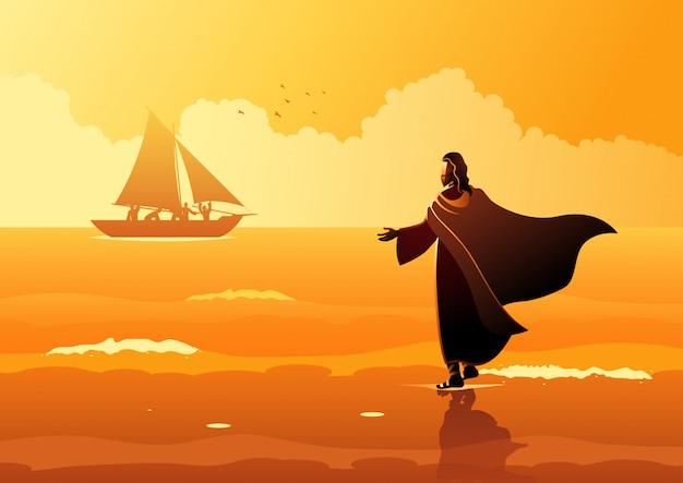 水の上を歩くイエス・キリスト Premiumベクター