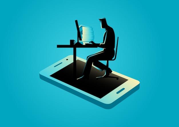 スマートフォンから表示されるコンピューターで作業する人 Premiumベクター