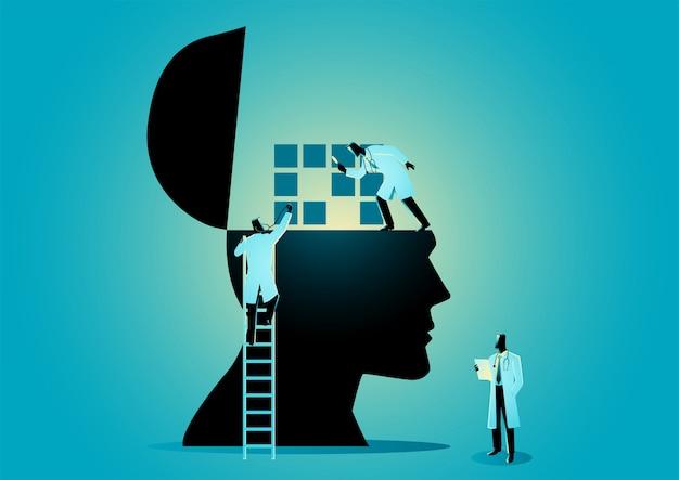 Команда врачей или ученых, проверяющих человеческий мозг Premium векторы
