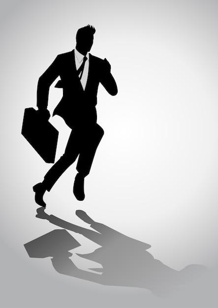 ブリーフケースで走っているビジネスマンのシルエットイラスト ベクター