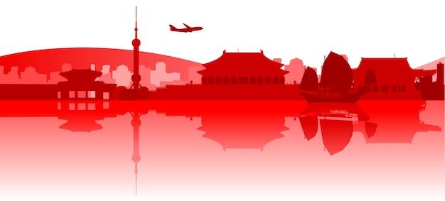 東アジアの有名な建物とモニュメント Premiumベクター