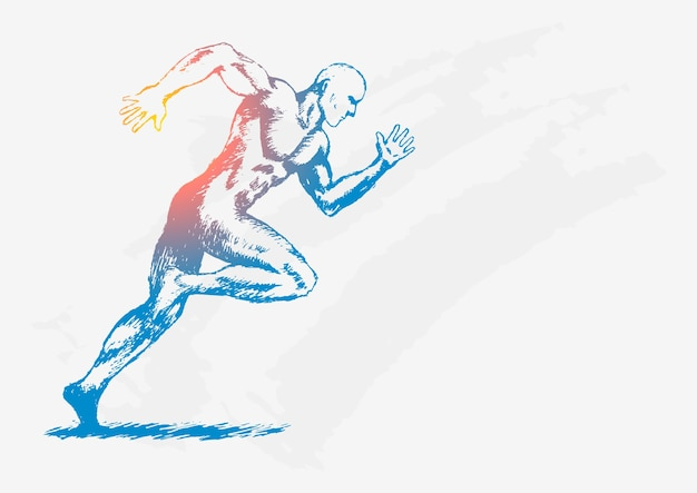 走っている人のスケッチのイラスト ベクター画像 プレミアムダウンロード
