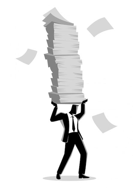 たくさんの書類を保持している実業家 Premiumベクター