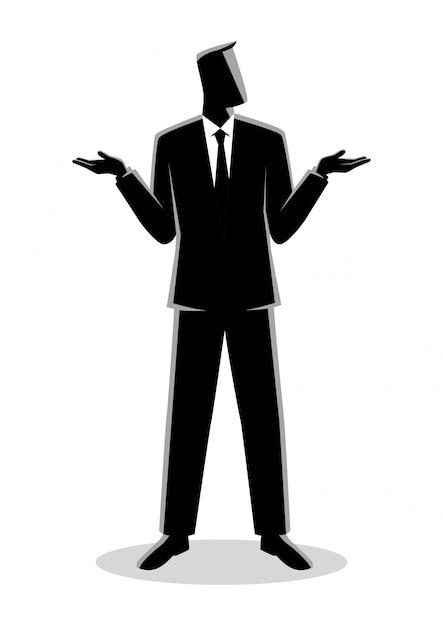 Бизнесмен пожимает плечами Premium векторы