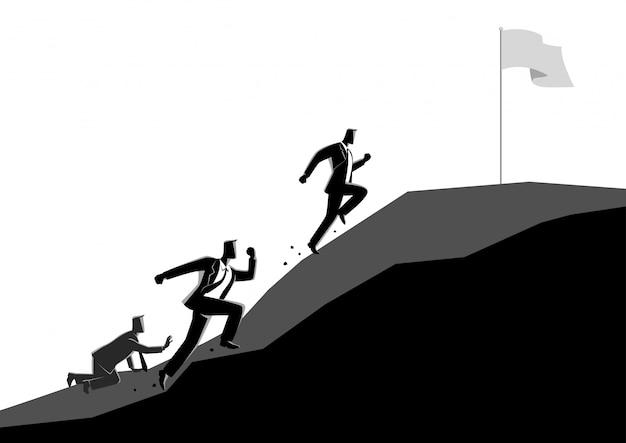 旗をつかむために上り坂のレースのビジネスマン Premiumベクター