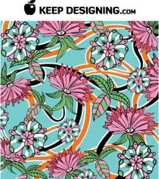 フリーデザインイラスト 夏の花壁紙ベクトルパターン ベクター画像