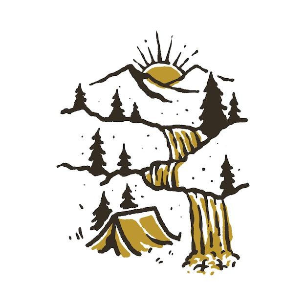キャンプハイキング登山イラスト Premiumベクター