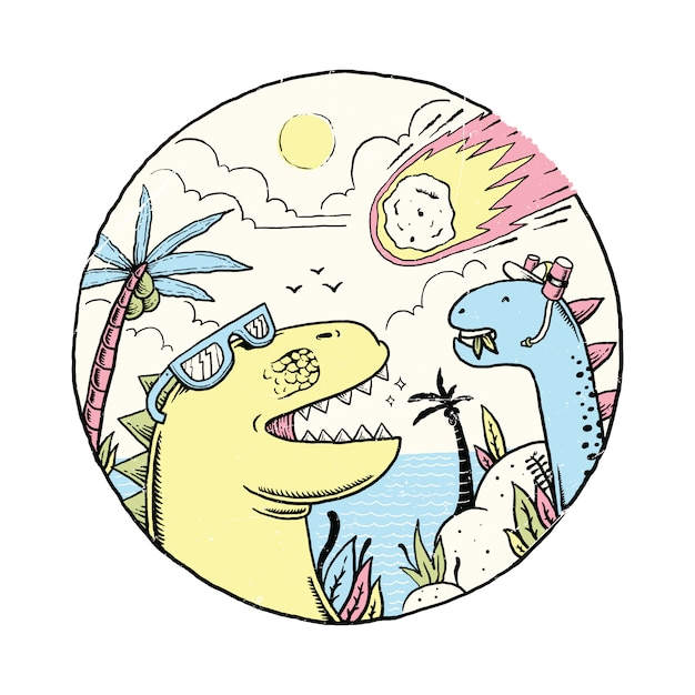 День астероидов животных динозавров Premium векторы