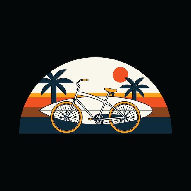 自転車サーフ夏ビーチグラフィックイラスト Premiumベクター