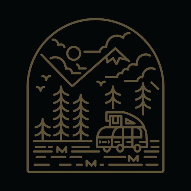 キャンプヴァン自然山グラフィックイラスト Premiumベクター