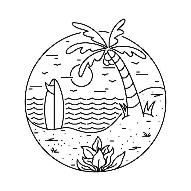 夏のビーチサーフィンライン図 Premiumベクター